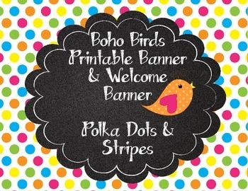 Boho bird cute birds printable banner polka dots stripes