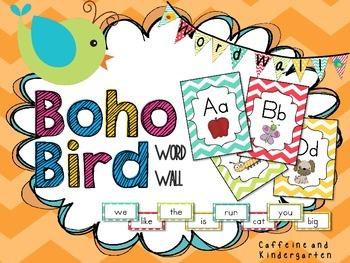 Boho Birds Word Wall Bright- Dolch Words