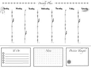 Boho weekly and monthly planner