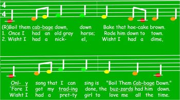 BOIL THEM CABBAGE DOWN - PowerPoint - Fa - quarter, eighth, half notes-Animated