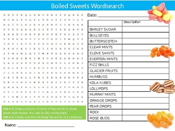 Boiled Sweets Wordsearch Puzzle Sheet Keywords Activity Food Treats