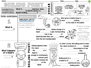 Boiling Point Cornell Doodle Notes : Liquid Gas Phase Change with Elevation