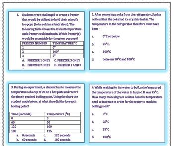 Boiling and Freezing Point Task Cards