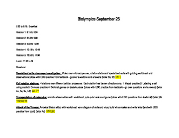 Biology EOC Reporting category 1, 5 lesson plans with links