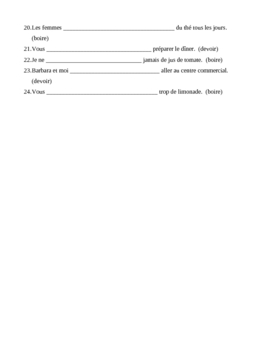 Boire and Devoir French verbs worksheet
