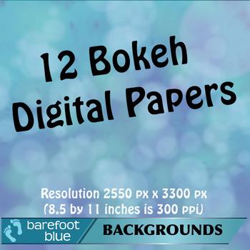 12 Bokeh Backgrounds/Digital Paper/Printables