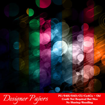 Bokeh Colorful Pattern 3 Digital Papers Package