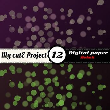 "Bokeh DIGITAL PAPER - Scrapbooking - A4 & 12x12""- Dark bokeh, polka dots"
