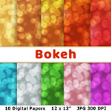 Bokeh Digital Paper, Confetti Scrapbook Paper, New Year's Background, Glow Dots