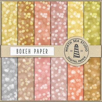 Bokeh Digital Paper, Gold Bokeh Backgrounds