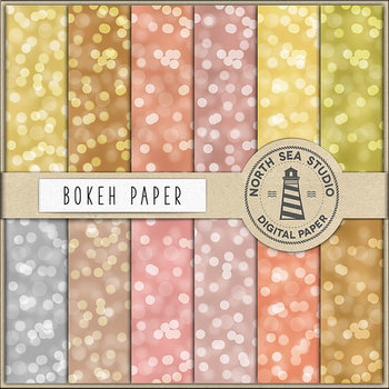 Bokeh Digital Paper, Gold Bokeh Backgrounds, Sparkle Textures