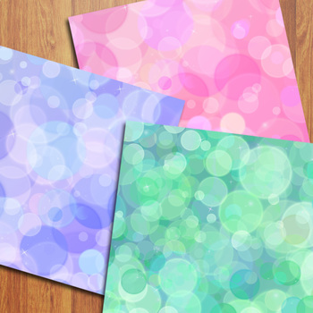 Bokeh Digital Papers / Colorful Bokeh Lights Backgrounds