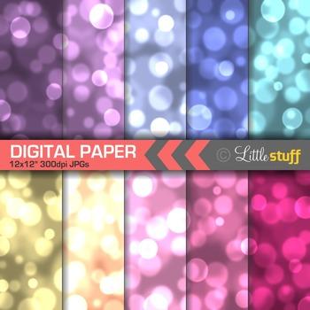 Bokeh Effect Digital Paper Pack, Rich Colors