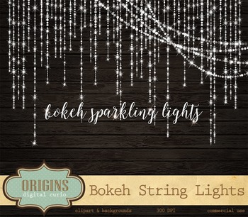 Bokeh Sparkling Glitter String Lights Clipart