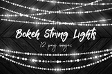 Bokeh String Lights Clipart, Bunting Fairy Lights, Sparkle String Lights