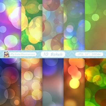 "Bokeh digital paper: ""COLORFUL BOKEH"" bright sparkles, christmas paper"