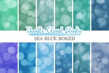 Bokeh digital paper, Sea Blue colors Bokeh Overlay, Bokeh backgrounds