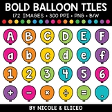 Bold Balloon Letter and Number Tiles Clipart