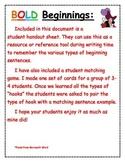 Bold Beginning student resource & Matching Game