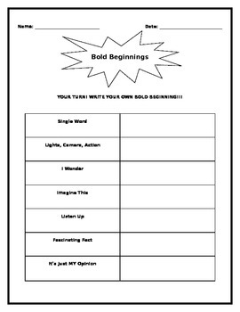 Bold Beginnings Interactive Handout