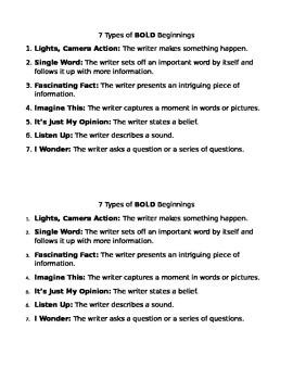 Bold Beginnings Journal Handout