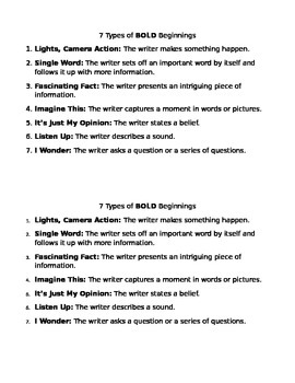 Bold Beginnings Journal Handout