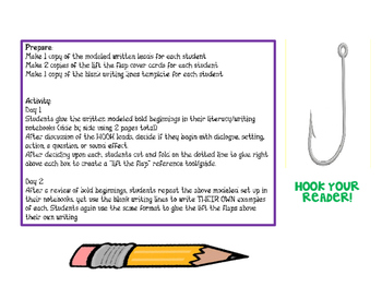 Bold Beginnings to HOOK your reader Writing Activity Mini Lesson