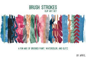 Bold Blend Brush Strokes Paint Glitter Foil Watercolor 20 PNG Clip Art 12in CU