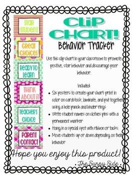 Bold & Bright Behavior Clip Chart