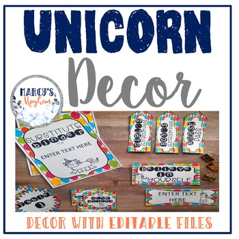 Unicorn classroom theme Editable decor set