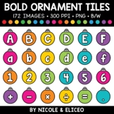 Bold Christmas Ornament Letter and Number Tiles Clipart