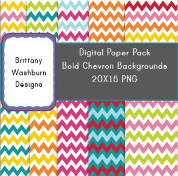 Bold Colors Chevron Digital Papers - Full Set