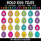 Bold Easter Egg Letter and Number Tiles Clipart