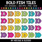 Bold Fish Letter and Number Tiles Clipart