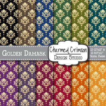 Bold Gold Foil Damask Digital Paper 1100