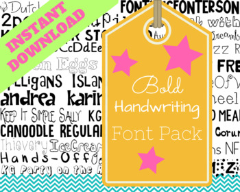 Bold Handwriting Font Pack Themed Computer .TTF Font Pack - 28 Styles