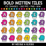Bold Mitten Letter and Number Tiles Clipart