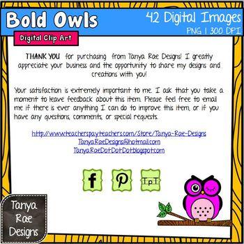 Bold Owls Digital Clip Art