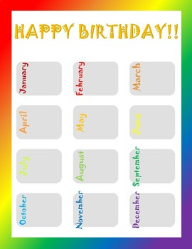 Bold Rainbow Birthday Chart By Classic City Classroom