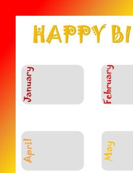 Bold Rainbow Birthday Chart