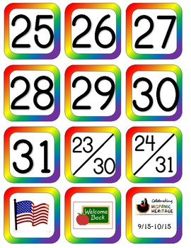 Bold Rainbow Calendar Set