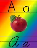 Bold Rainbow Print and Cursive Alphabet Tiles