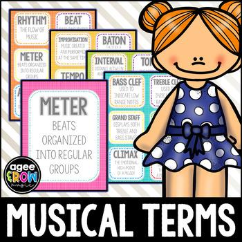 Bold Rainbow Theme Flashcards, Wall Cards, Bulletin Board - Music Vocabulary