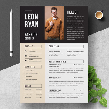 Bold Resume Template For Fashion Designer Instant Download By Resumeinventor