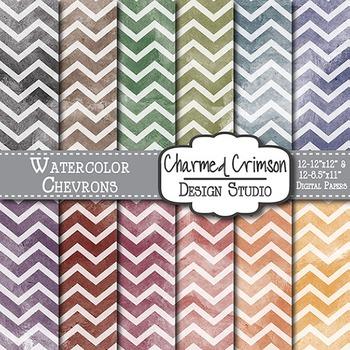 Bold Watercolor Chevron Digital Paper 1505
