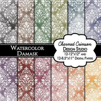 Bold Watercolor Damask Digital Paper 1492