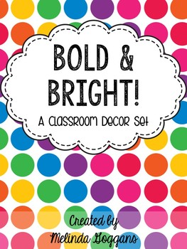 Polka Dots Classroom Decor Set: Editable with matching teacher binder