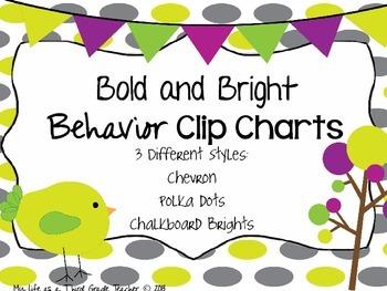 Bold and Bright Behavior Clip Charts (Chevron, Polka Dots, and Chalkboard)