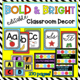 Bold and Bright Editable Classroom Decor