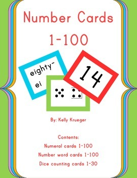 Bold and Bright Number Cards 1-100